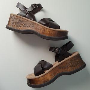 AMAZING Vintage 90's Wood Sole Platform Sandals
